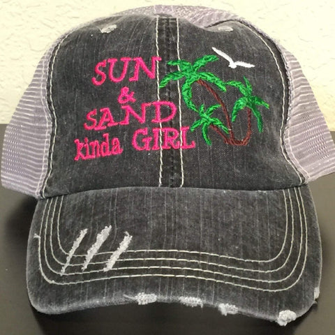 Sun & Sand Kinda Girl Distressed Trucker Cap