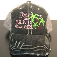 Load image into Gallery viewer, Toes in the Sand Kinda Girl with Palm Trees Trucker Cap