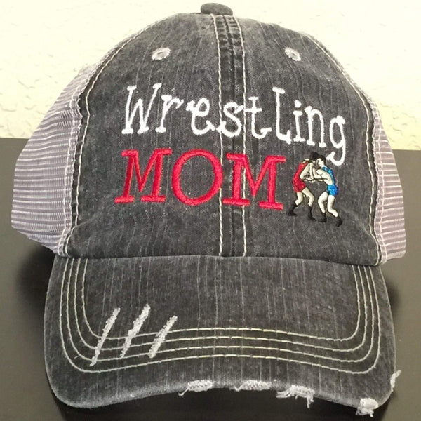 Wrestling Mom Distressed Trucker Cap