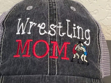 Load image into Gallery viewer, Wrestling Mom Distressed Trucker Cap