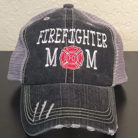 Firefighter Mom with Maltese Cross Trucker Cap