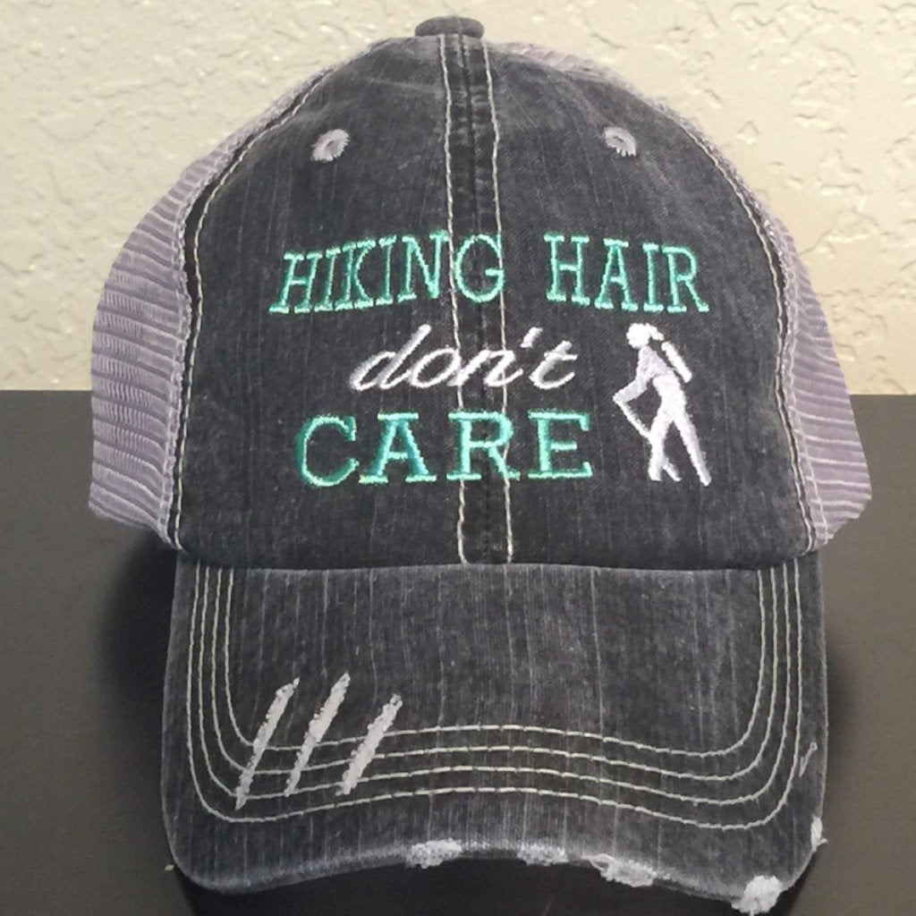 Hiking Hair Don't Care with Girl Hiker Trucker Cap