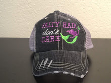 Load image into Gallery viewer, Salty Hair Don't Care with Mermaid Distressed Trucker Cap