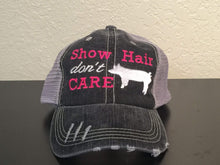 Load image into Gallery viewer, Show Hair Don't Care with Pig Distressed Trucker Cap,Caps