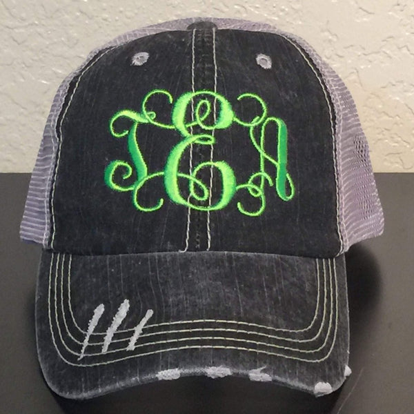 Monogrammed Distressed Trucker Cap