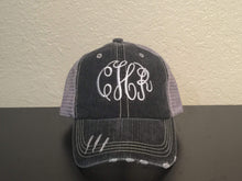 Load image into Gallery viewer, Monogrammed Distressed Trucker Cap