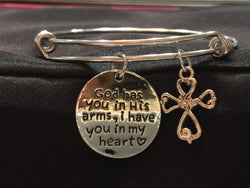 God Has You in His Arms Adjustable Bangle Bracelet