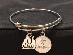 I Love my Firefighter Adjustable Bangle Bracelet