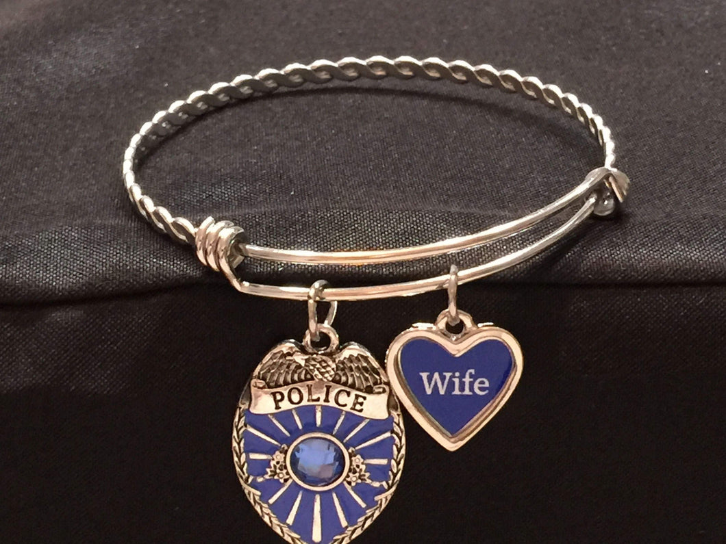 Police Wife Adjustable Bangle Charm Bracelet,Bracelets