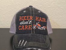 Load image into Gallery viewer, Biker Hair Don't Care Embroidered Distressed Trucker Cap
