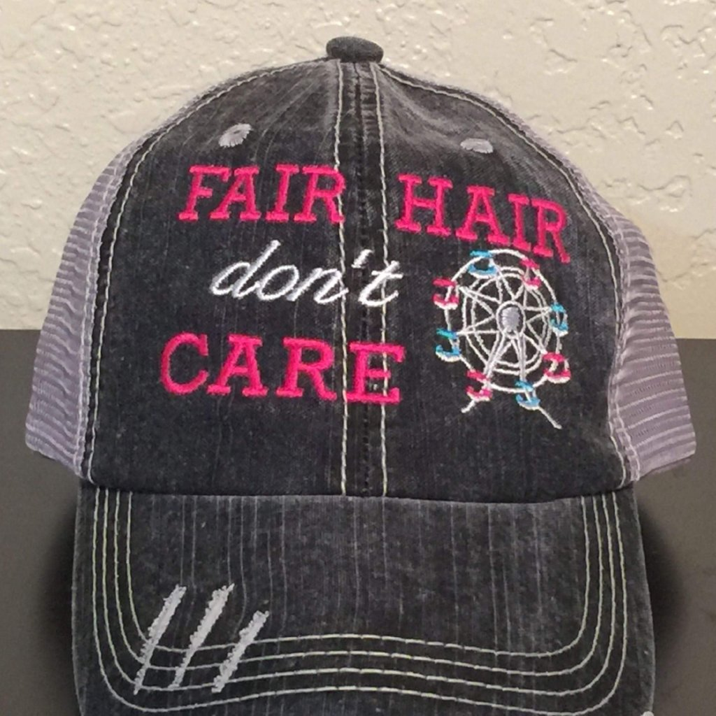Fair Hair Don't Care Distressed Trucker Cap,Caps