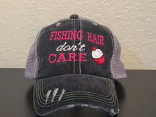 Load image into Gallery viewer, Fishing Hair Don't Care Embroidered Distressed Trucker Cap