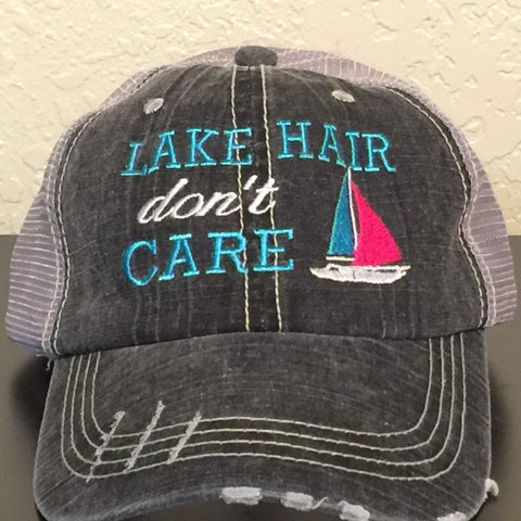 Lake Hair Don't Care with Sailboat Trucker Cap