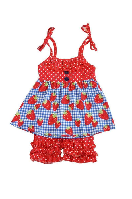 Strawberry Gingham Print Ruffled Short Set,Kids Clothes
