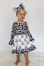 Load image into Gallery viewer, Cow Print Dress for Kids,Kids Clothes