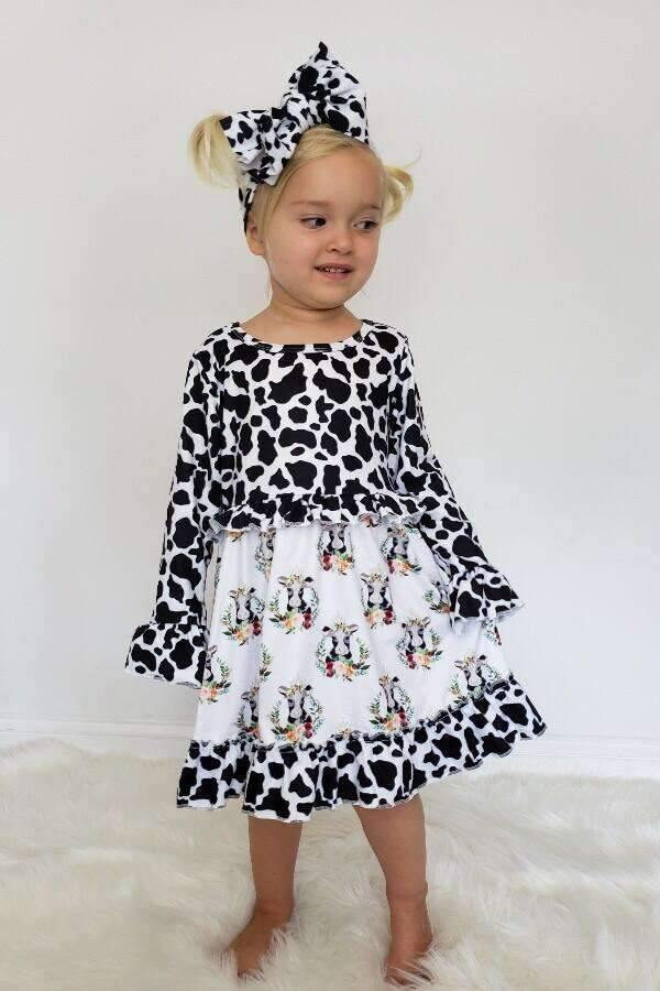 Cow Print Dress for Kids,Kids Clothes