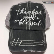 Load image into Gallery viewer, Thankful and Blessed Distressed Trucker Cap