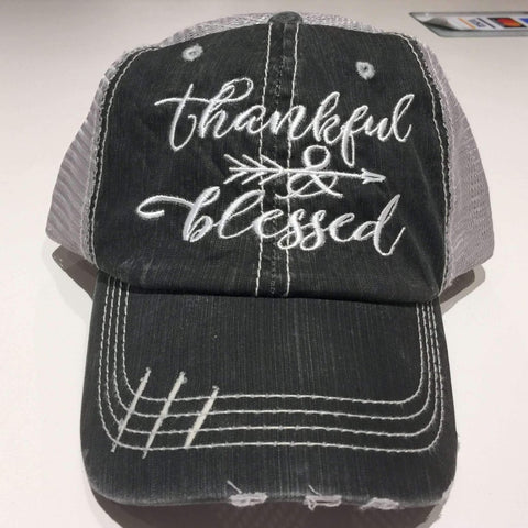 Thankful and Blessed Distressed Trucker Cap