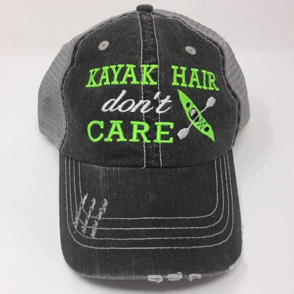 Kayak Hair Don't Care Embroidered Distressed Trucker Cap