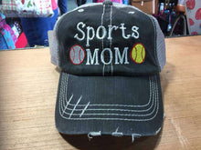 Load image into Gallery viewer, Sports Mom with Two Sports Distressed Trucker Cap
