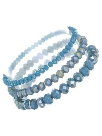 Set of 3 Stretch Bracelets Indigo Blue,Live Show