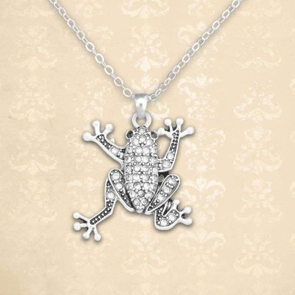 Rhinestone Frog Necklace