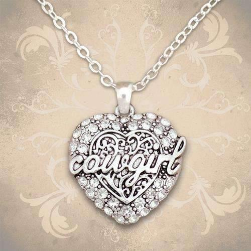 Cowgirl Rhinestone Heart Necklace
