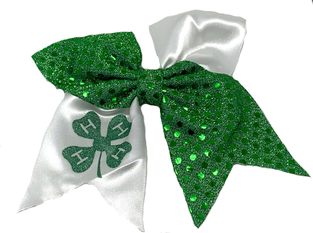 4H Green and White Hairbow