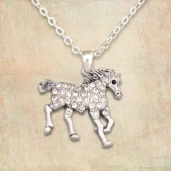 Run-in Horse Rhinestone Necklace