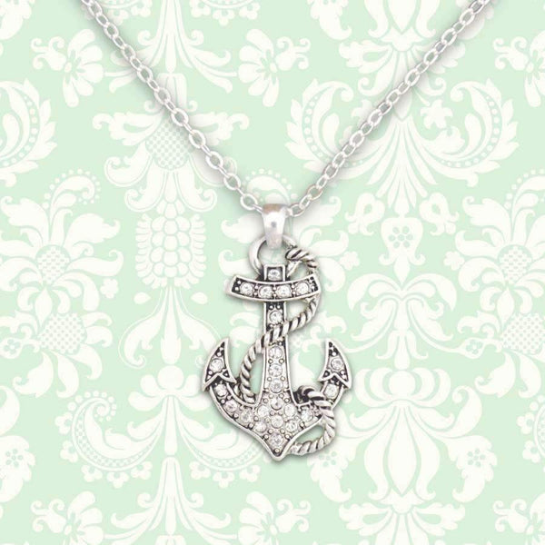 Anchor Rhinestone Necklace
