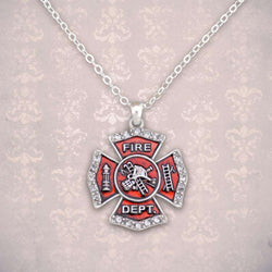 Fire Department Maltese Cross Rhinestone Necklace