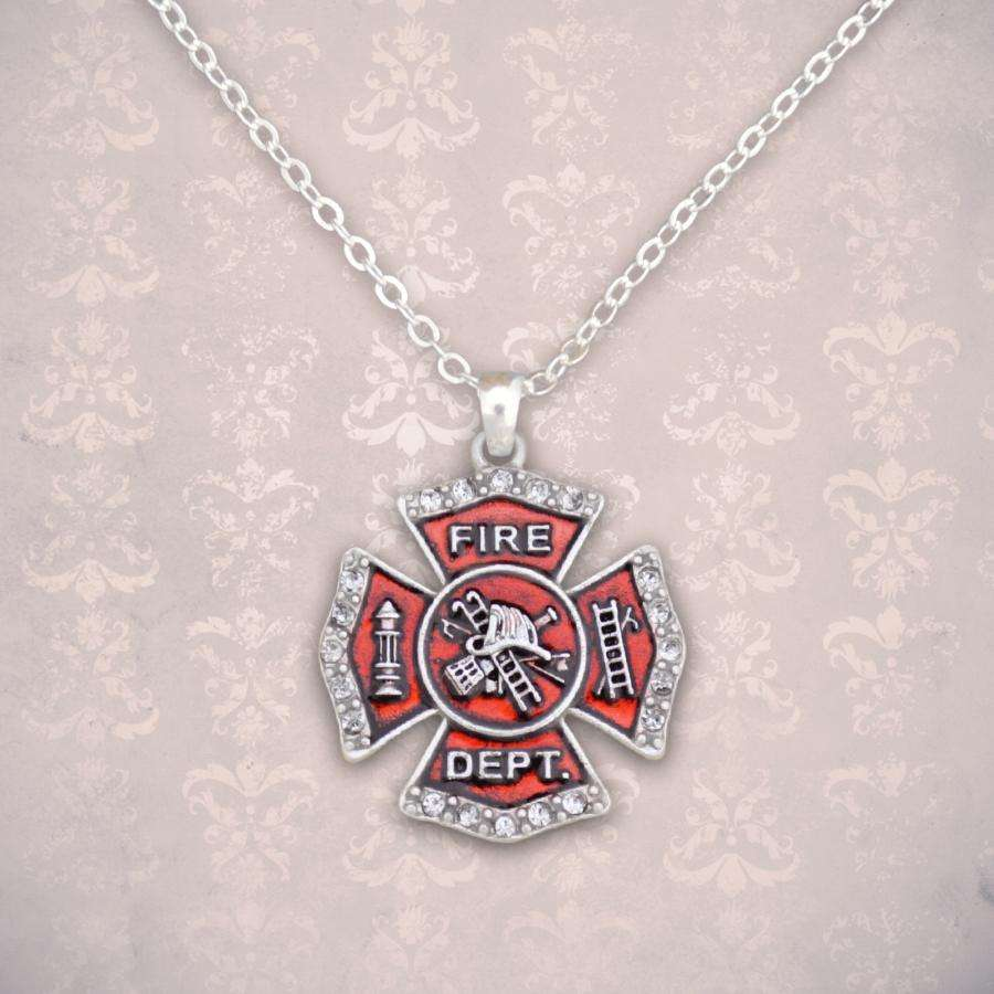 Fire Department Maltese Cross Rhinestone Necklace,Necklaces