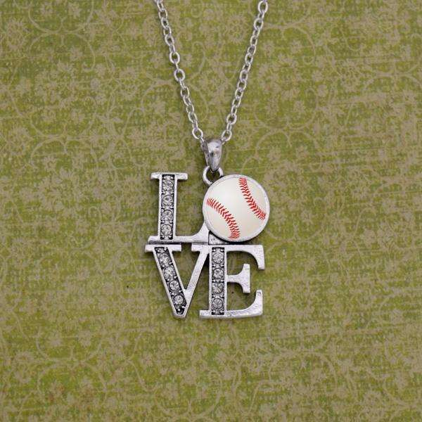LOVE Baseball Rhinestone Necklace