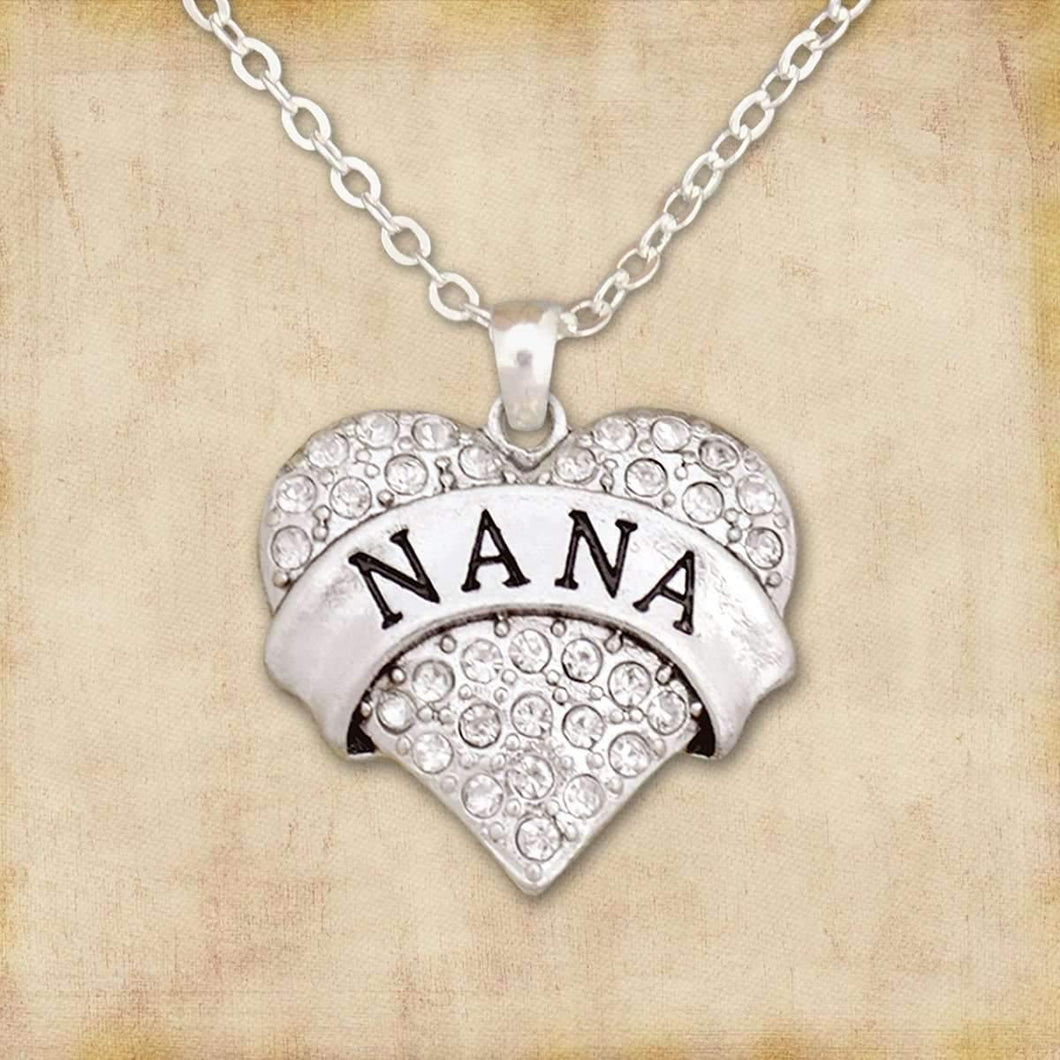 Nana Rhinestone Heart Necklace,Necklaces