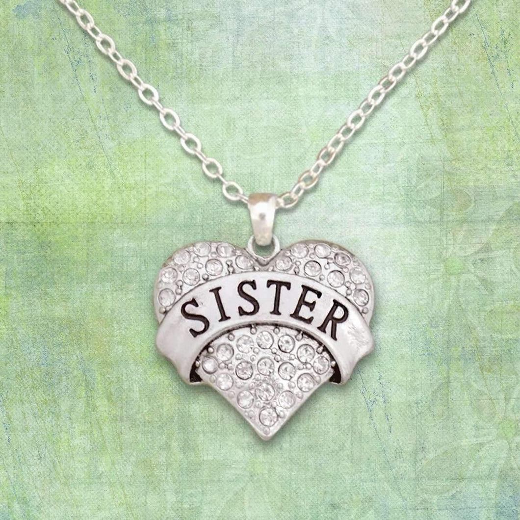 Sister Rhinestone Heart Necklace