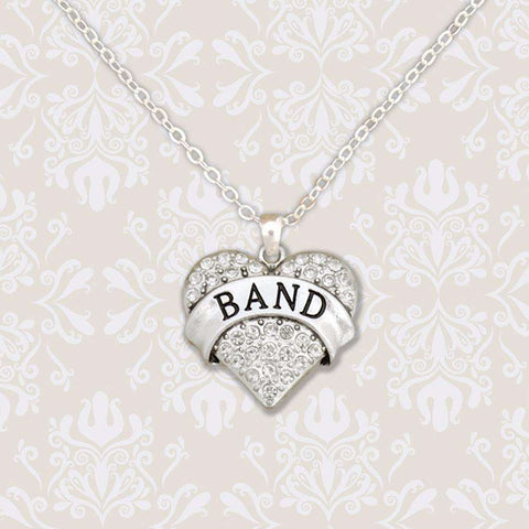Band Rhinestone Heart Necklace