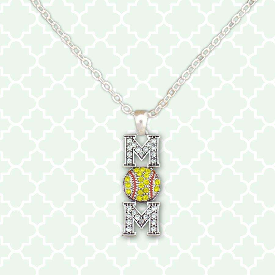 Softball Mom Rhinestone Necklace,Necklaces