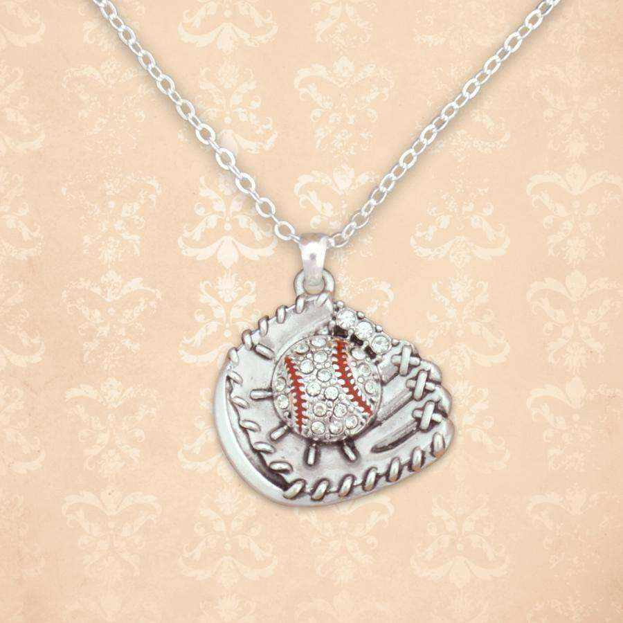 Baseball Glove Rhinestone Necklace