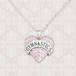 Gymnastics Pink Rhinestone Heart Necklace