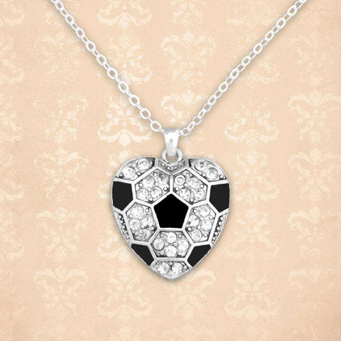 Soccer Heart Shaped Rhinestone Necklace