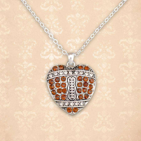 Football Heart Shaped Rhinestone Necklace
