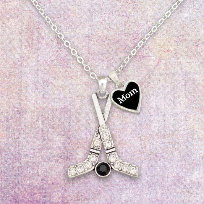 Hockey Mom Rhinestone Necklace with Two Charms,Necklaces