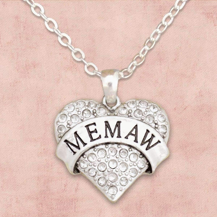 Memaw Rhinestone Heart Necklace,Necklaces
