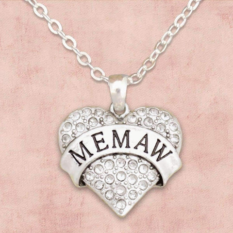 Memaw Rhinestone Heart Necklace