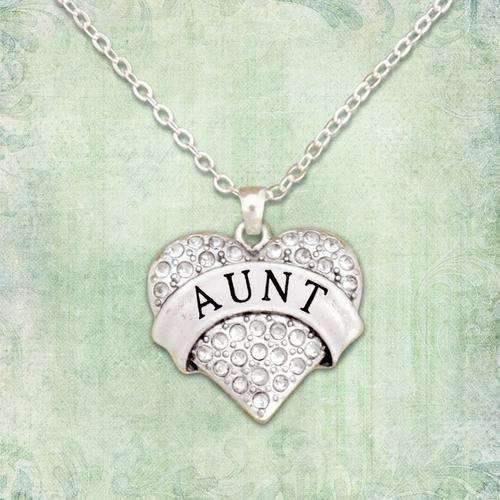 Aunt Rhinestone Heart Necklace,Necklaces