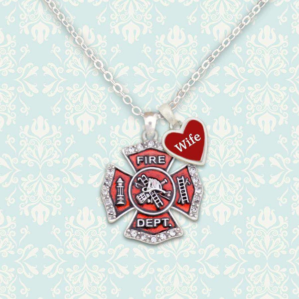 Firefighter Wife Necklace with Two Charms