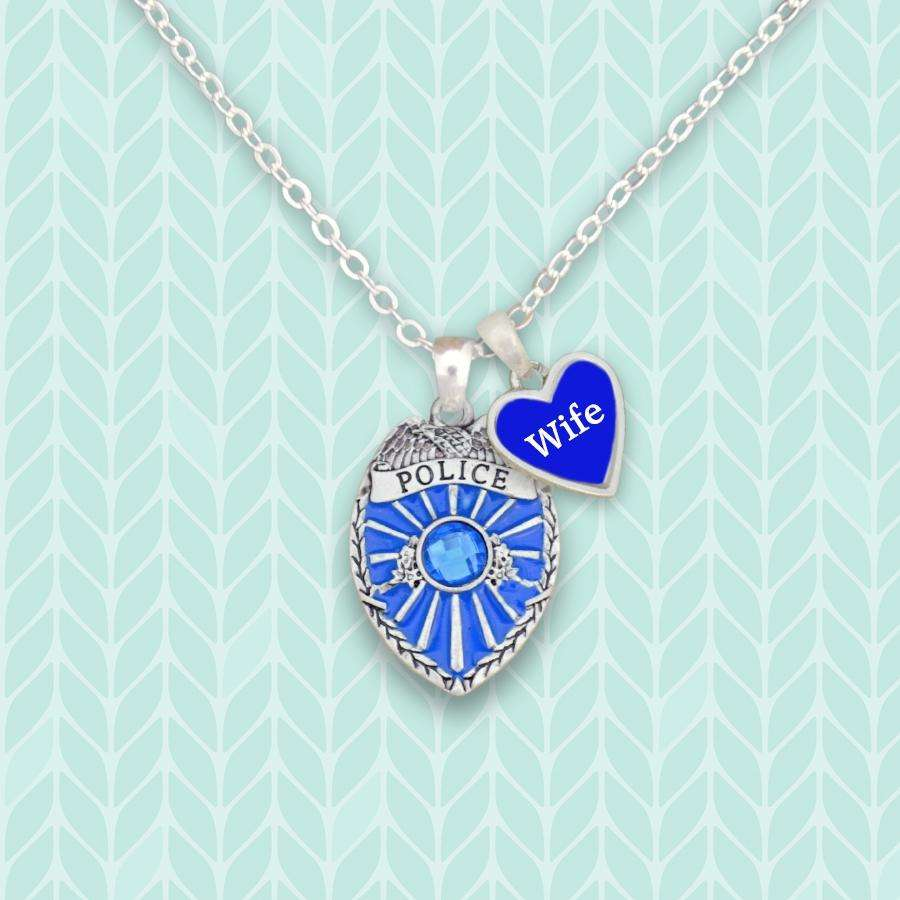 Police Wife Necklace with Two Charms,Necklaces