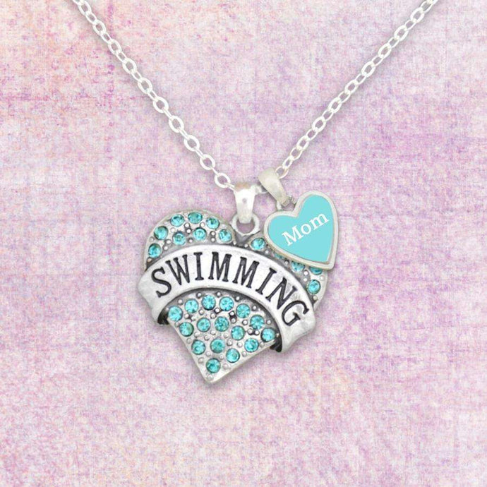 Swim Mom Necklace with Two Charms,Necklaces