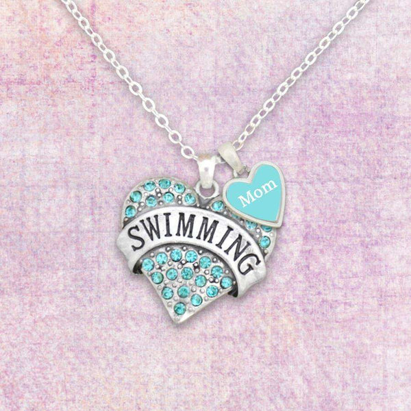 Swim Mom Necklace with Two Charms