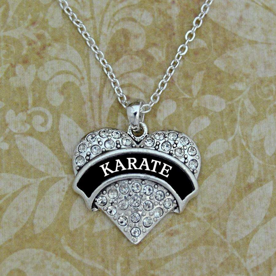 Karate Rhinestone Heart Necklace